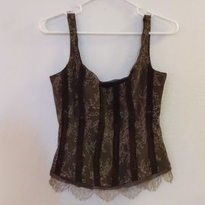 Brown and Gold Lace Sexy Corset Tank Top